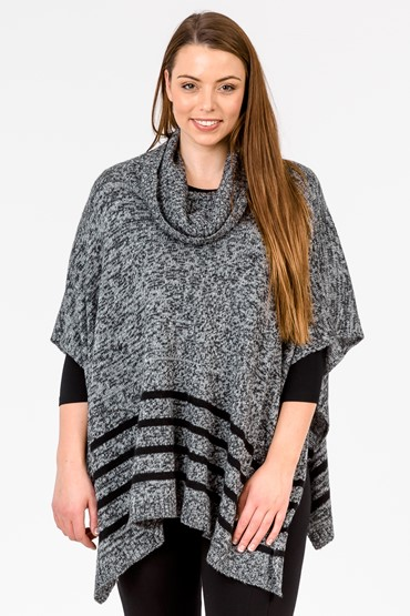 ROLL NECK PONCHO W STRIPE HEM