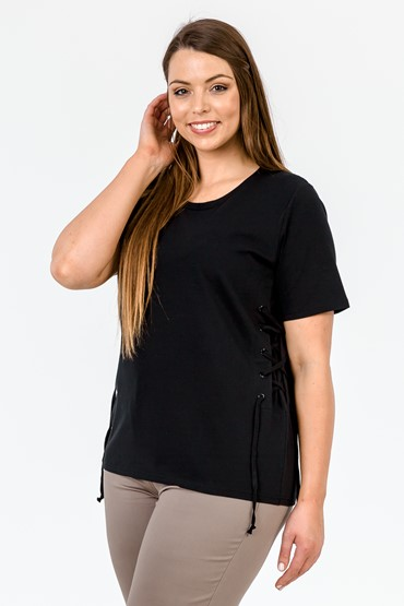 SIDE LACE UP CORSET TEE
