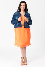 SLINKY DRESS W SLIP - orange