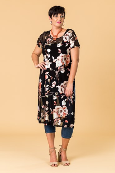 POPPY PRINT SIDE SPLIT TUNIC
