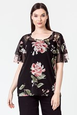 DOUBLE FRILL SLV TOP - pinkrose