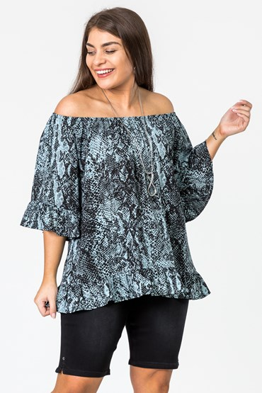 RUFFLE SHOULDER SHOW TOP