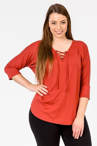 DOLMAN SLEEVE LACE UP TOP