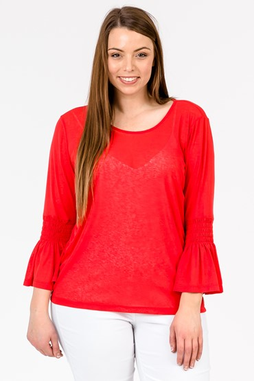 SHIRRED BELL SLV TOP