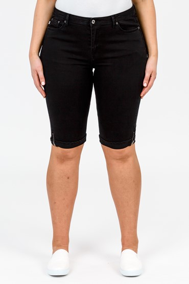 ZIP HEM KNEE SHORT