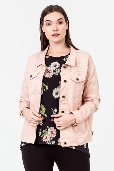 PEARL TRIM JEAN JACKET