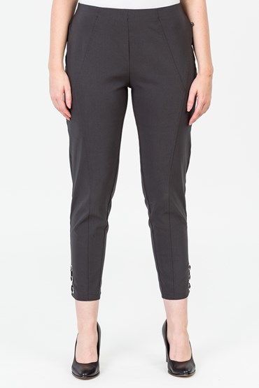 PANEL DETAIL PANT WITH EYELET HEM DETAIL
