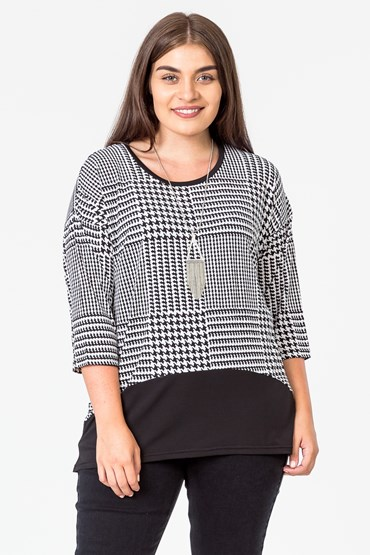 HOUNSTOOTH CONTRAST TOP