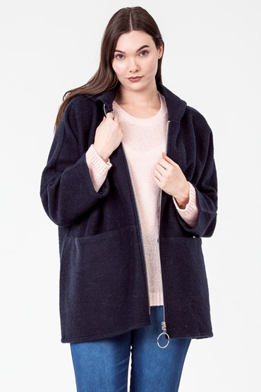 ZIP FRONT DOLMAN COAT