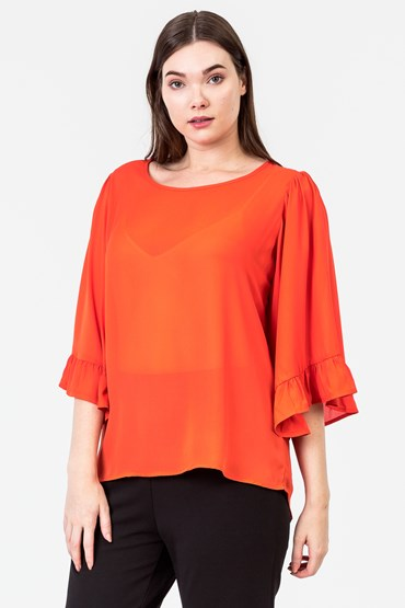 FLUTED FRILL SLV TOP