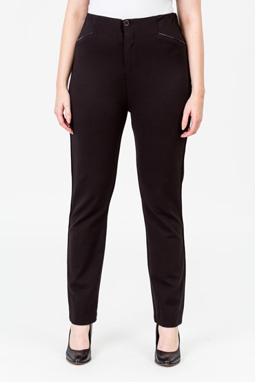 HIGH WAISTED PLEATHER TRIM PANT