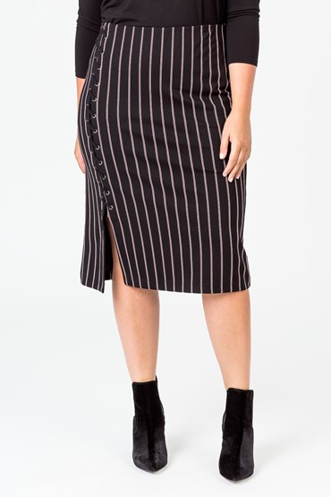 STRIPE EYELET DETAIL PENCIL SKIRT