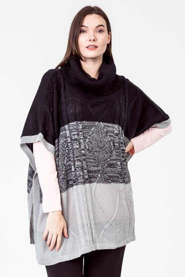 CABLE BLOCK KNIT PONCHO