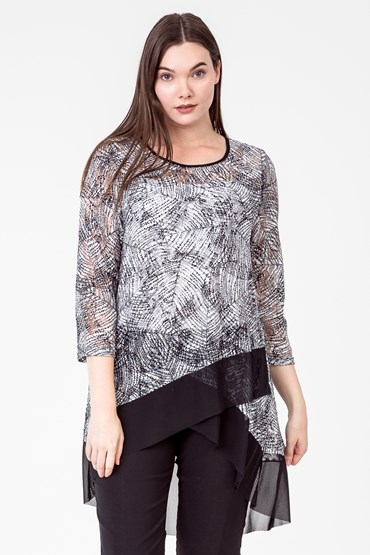 LACE CROSS FRONT TOP W CHIFFON TOP
