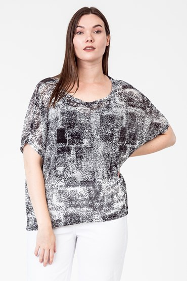 RIBBON KNIT S/SLV DOLMAN TOP