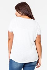 BUTTERFLY MESH OVERLAY  TEE - white