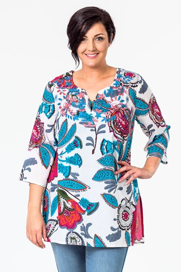 PRINT TUNIC W EMBROIDERY