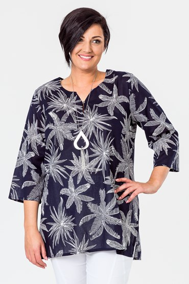 PALM PRINT VOILE TUNIC