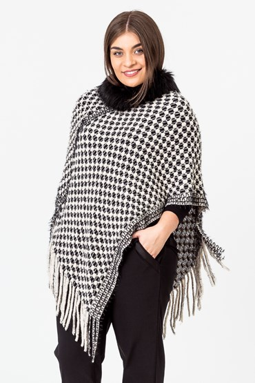 FRINGE AND FUR PONCHO