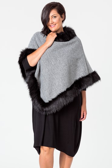 LINED FUR EDGE PONCHO
