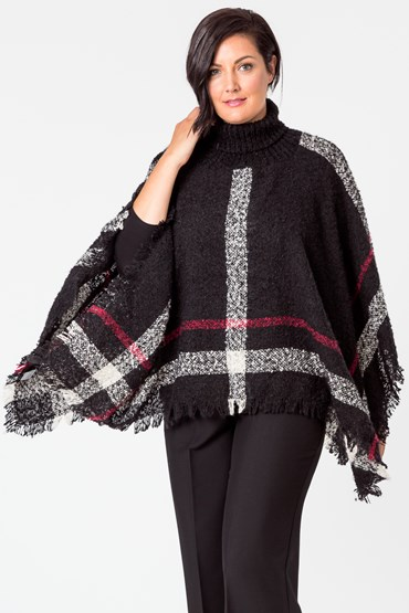 ROLL NECK CHECK PONCHO