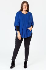 CABLE FRONT PONCHO - cobalt