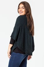 CABLE FRONT PONCHO - mallard
