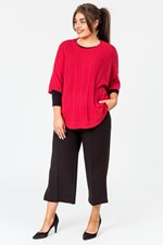 CABLE FRONT PONCHO - red