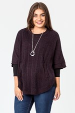 CABLE FRONT PONCHO - wine