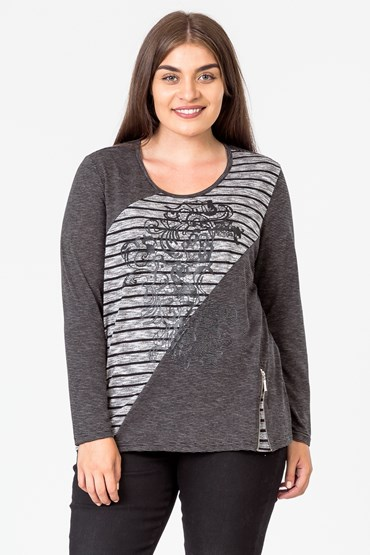 MIXED STRIPE GRAPHIC TOP