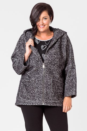 WOOL MIX ZIP FRONT BOUCLE COAT