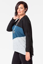 ANGLED COLOUR BLOCK TOP - blkteal