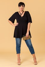 CROSS FRONT FLARED TOP - black