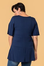 CROSS FRONT FLARED TOP - navy