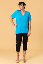 TAIL BACK ESSENTIAL TEE - aqua