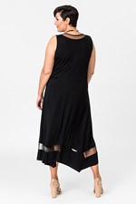 FAIRVIEW MESH TRIM DRESS - black