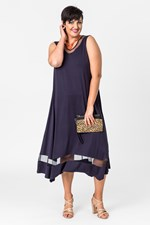 FAIRVIEW MESH TRIM DRESS - navy