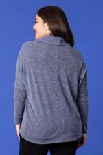 STUD COWL NECK TOP - indigo