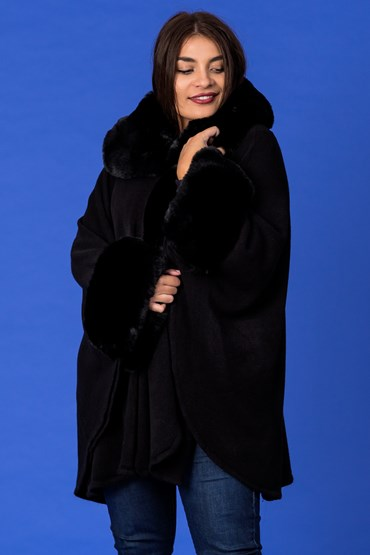 FUR COLLAR CAPE