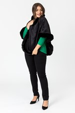 FUR EDGE PONCHO - black