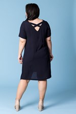 STRAP BACK FIT AND FLARE DRESS - navy