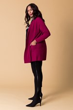 PLEAT INSERT CARDIGAN - cerise