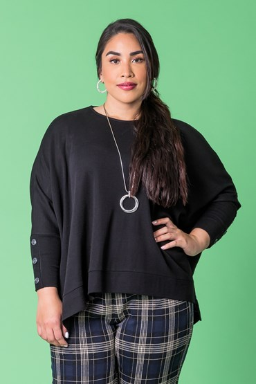 MERINO PONCHO WITH BUTTON CUFF