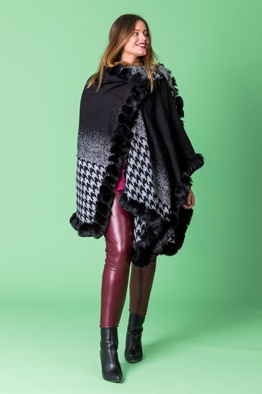 HOUNDSTOOTH WRAP W FUR EDGE